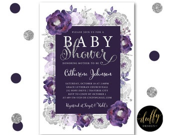 Baby Shower Invitation, Baby Girl Shower Invite, Purple Silver Baby Shower Invite, Baby Shower Invite, Watercolor 5x7 Printable Invitation