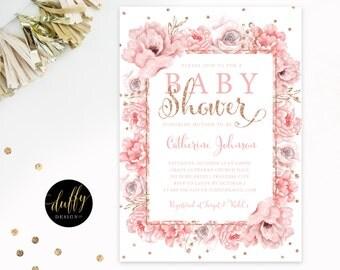 Blush Rose Gold Baby Girl Shower Invitation, Baby Shower Invite, Floral Shower Invitation, Pink Baby Shower Invite 5x7 Printable Invite