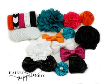 Headband Kit - The Windsor - Teal, Fuchsia, Orange, White, Black - Makes 12 Headbands - Baby Headbands, DIY Headbands, Headband Making Kit