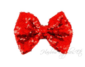 Red Large Sequin Bows 4 inch Bows - Bow Applique, Sequin Bow, Large Bows, Big Bows, Wholesale Bows, Sequin Bow Tie, Sequin Bow Headband