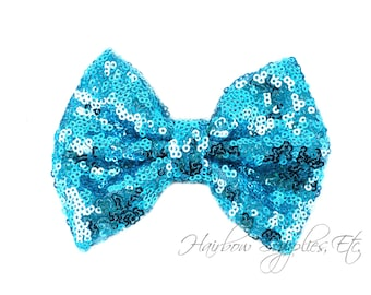 Turquoise Large Sequin Bows 4 inch Bows- Bow Applique, Sequin Bow, Large Bows, Big Bows, Wholesale Bows, Sequin Bow Tie, Sequin Bow Headband