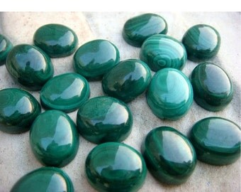 45% ON SALE Wholesale Malachite Cabachon Lot - Oval Calibrated Malachite Cabachons - 12x10mm - 50 CTW - 7 Pieces