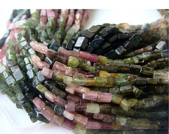 50% ON SALE Wholesale 5 Strands Multi Tourmaline Lot - Multi Tourmaline Cube Rondelles - Approx 4mm - 13 Inches Each