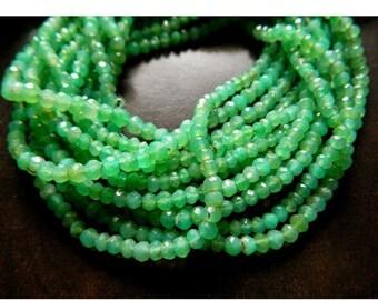 50% ON SALE Chrysoprase Rondelles, Chrysoprase Bead, 3.5mm Faceted Beads, Faceted Rondelle Beads, 13 Inch Strand