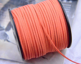 10 yards Orange Faux Suede Leather Cord / DIY Cord Supplies / Faux Suede Lace / Vegan Suede Cord - 2.5x1mm