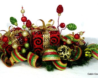 Christmas Holiday Gift Box Centerpiece Floral Arrangement with Lights red gold lime green UNIQUE Custom design by Cabin Cove Creations
