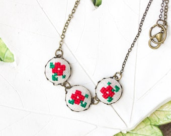Romantic necklace with violet flowers, cross stitch floral necklace, in red n032red