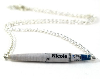 Personalised Handmade Asymmetrical Paper Bead Tube Necklace Choose your Name or Inspirational Word in Two Different Sizes Recylced Jewellery