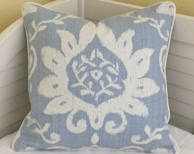 Thibaut Bridgewater in Blue Designer Pillow Cover with Piping - Square and Euro Sizes