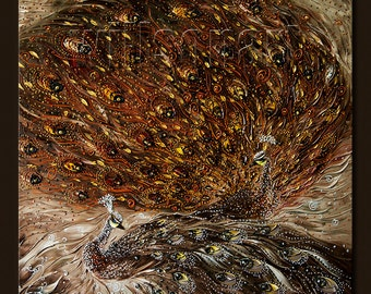 Peacock Oil Painting Textured Palette Knife Contemporary Modern Original Animal Art 36X36 by Willson Lau