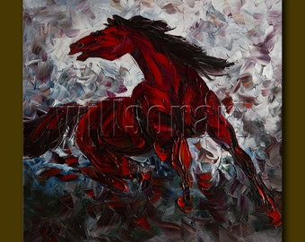 Horse Portrait Modern Animal Oil Painting Textured Palette Knife Original Art 24X24 by Willson Lau