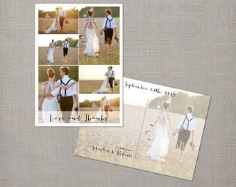 "Wedding Photo Thank You Cards / Thank you postcards / Photo collage thank you cards / Wedding thank you card - the ""Roberta 3"""