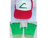 Ash Ketchum Trainer  Hat and med Green Gloves set  Halloween costume Pokemon Choose your Size