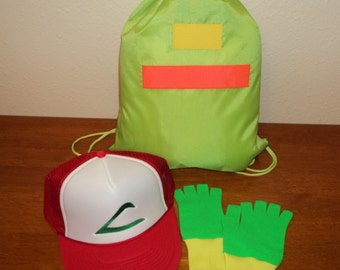 Ash Ketchum Trainer  Drawstring Bag,  Hat and Gloves set  Halloween costume Pokemon Choose your Size