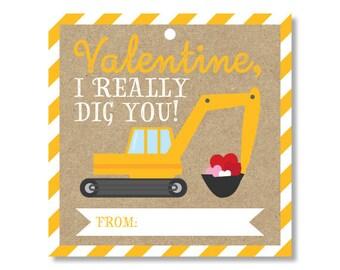 Kids Valentine, Valentine's Day Card, School Valentine, Class Valentine, Valentine Favors, Digger Valentine, Construction Valentine
