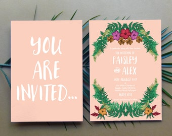 Tropical Wedding Invitation - Downloadable Wedding Invitation, Wedding Invitations, Wedding Invitation Printable, Wedding Invitation Summer
