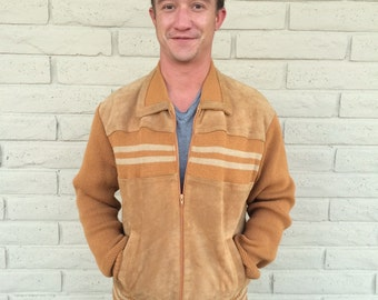 70s Mens Striped Cardigan Sweater/// size XL