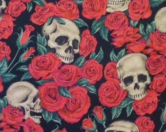 ON SALE Red Roses and Skulls Print Pure Cotton Fabric from ALexander Henry-One Yard