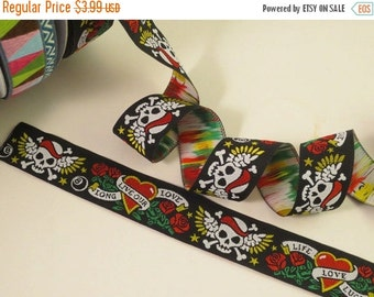 ON SALE Skulls and Roses Tattoo Design Polyester Jacquard Ribbon--One  Yard