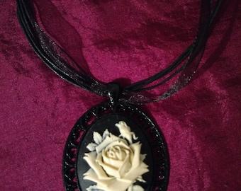 Handmade Large Cream English Rose Cabochon in Black setting Necklace.