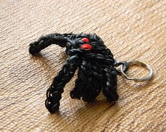 Minecraft Spider Rainbow Loom Keychain - Black with Red Eyes - Eight Legs - Black Spider Key Chain