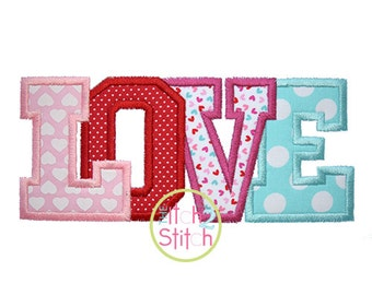 "Love Applique Design For Machine Embroidery Size(s) 4x4, 5.5"", 5x7 & 6x10 INSTANT DOWNLOAD now available"