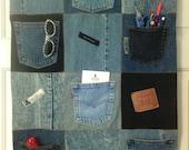 "Denim fabric Wall Hanging ~ 30"" x 22"" ~ Repurposed Denim ~ 6 Denim Pockets ~ Hanging sleeve ~ Childs room ~ Dorm room ~ Sewing room"