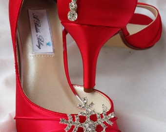 Wedding Shoes - Red Bridal Shoes Crystal Snowflake Brooch with Teardrop Crystals - Over 100 Custom Color Choices