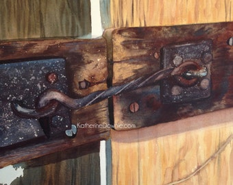 Watercolor Greenfield Village Door Latch Art Print