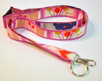 Fabric Lanyard  ID Badge Holder -  Teacher lanyard - bubble gum pink chewing gum  Breakaway safety clasp