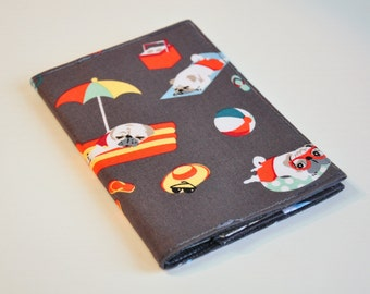 Passport Cover Sleeve holder  Fabric Travel Holiday Fun cute pugs at the beach having a great day off!