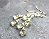 Green Amethyst Earrings Dangle Cascade Earrings, Prasiolite, Sterling Silver Waterfall