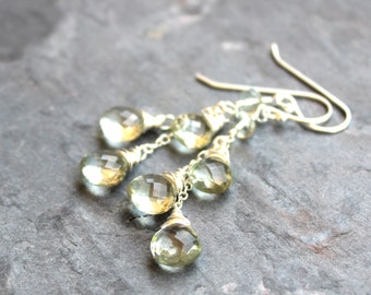 Green Amethyst Earrings Dangle Cascade Earrings, Prasiolite, Sterling Silver Waterfall