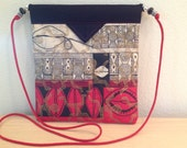 Red Black White and Gold Ethnic Print Quilted Fabric Snap Bag Purse Handbag Handmade
