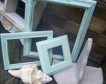 Cottage CHic Shabby Wooden Hand Painted Green Picture Frames