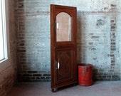 Vintage Glass Wood Corner Cabinet Kitchen Entryway Bathroom