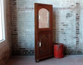 Corner Cabinet Vintage Glass Wood Kitchen Entryway Bathroom
