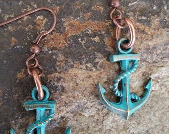 Patina Anchor Earrings