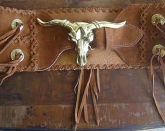Cognac Western fringe belt with Solid Brass longhorn steer-head