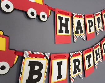 Boys Birthday Banner, Fire Truck Birthday Decorations, Firetruck banner Fireman Decorations