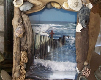 Driftwood Seashell Picture Frame Coastal Home Decor/ Shore Sea Shell Coral Barnacle Finds, Worn Wave Sand Weathered Rustic Wood