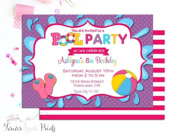 Girls Pool Party Invitation, Swimming Party Invitation, Girls Birthday Invitation, Pool Party Invite, Summer Pool Party, Purple, Pink