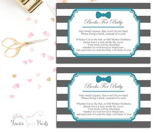 Baby Shower Insert Cards, Book Request Inserts, Baby Shower Book Request, Bow Tie Baby Shower, Grey and Teal Baby Shower, Little Man