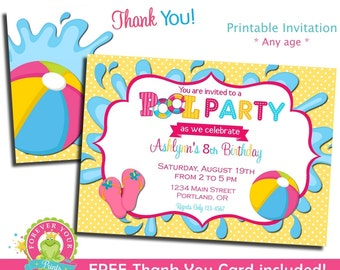 Pool Party Invitation / Birthday Invitation / Pool Party Invite / Pool Birthday Party / Printable Pool Party / Pool Invitation
