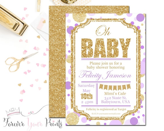 lavender and gold baby shower invitation girl s baby shower