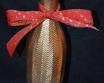 Gold Painted Zig Zag Patterned Vase-Christmas-Wedding