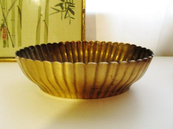 Hollywood Regency Cachepot Brass Bowl, Brass Catchall, Home Office Decor, Planter
