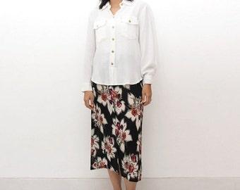 SUPER SALE ON Sale/Vintage 90s Skirt/90s Floral Skirt/Viscose Black White Red Floral Print Maxi Button Down Skirt, Medium