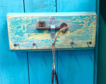 Key Jewelry Holder Hook Rack Vintage Skeleton Key Horizontal Turquoise Blue Art Block Wall Decor by CastawaysHall- Ready to Ship