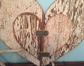 Heart Large Weathered Wood Wall Art Valentine Wooden Rustic Beach House Decor Limited Edition by CastawaysHall - READY TO SHIP